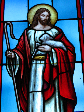 Jesus stain glass window up close    SEPT.  2008 013